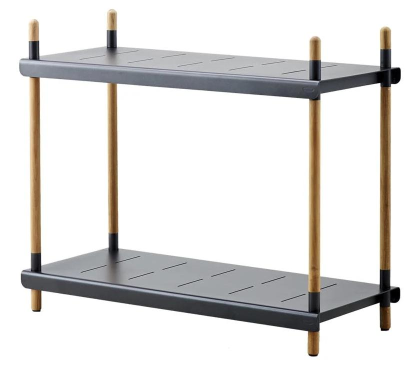 Shelf Frame H84cm Teak Alu/Lava Grey  W/2 Shelves