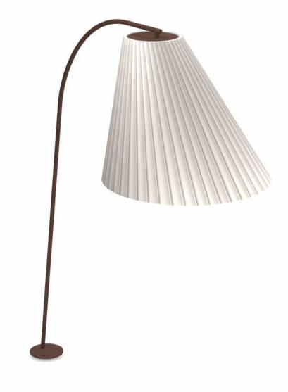 Floorlamp Cone Met/Brown Lamps.Pleated H271cm