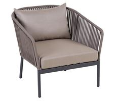 Lounge Armchair Spaghetti Alu/Anth Rope/Taupe W/Cush S+1Pill