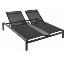 Double Sun Lounger Cone Alu/Anthracite Text/Black W/Wheels