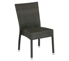 Sidechair Playa Wo/Armrest Wicker/Dark Brown